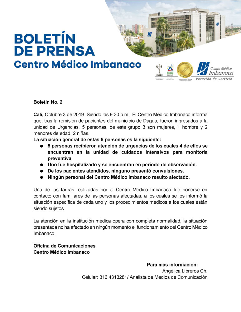 Boletín Nº 2 Caso Dagua Imbanaco 2019